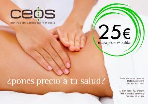 Masaje de espalda 25e, en Ceos.